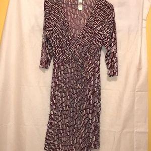 Laundry By Shelli Segal Dresses - Black/White/Red Matte Jersey Faux Wrap Dress